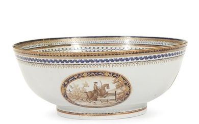 Rare Chinese Export porcelain Hunt bowl circa 1780 H:...