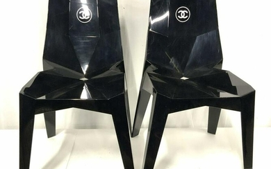 Rare Pair Authentic CHANEL Boutique Logo Chairs