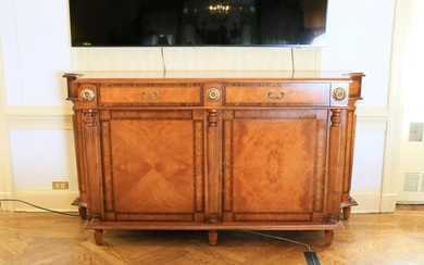 Regency style burlwood cabinet with rosewood banded