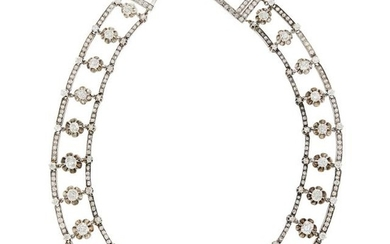 Rhodium-Plated Silver, Gold and Diamond Necklace