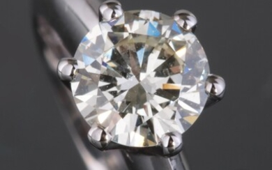 Ring in 18kt with a brilliant cut diamond 1.51ct