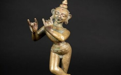 Ritual object (1) - Bronze - Deity - Krishna Venugopala - India - 18th century