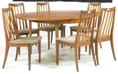 Round Mid Century Modern Table & 6 Chairs