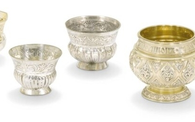 SIX PARCEL-GILT SILVER CHARKII, VARIOUS MAKERS, MOSCOW, 18TH / 19TH CENTURY