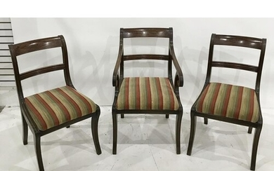 Set of eight Regency mahogany bar-back dining chairs, the to...