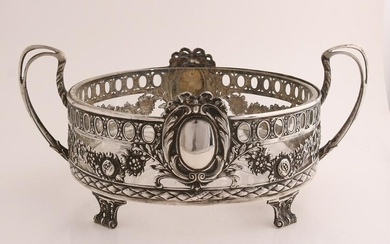 Silver bowl, 925/000, with glass inner bowl.&#160 Round
