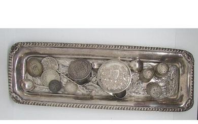 Silver collection, Chased silver pin tray, three silver thim...