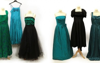 Six Circa 1950's Evening Dresses/Gowns, comprising a turquoise silk strapless...