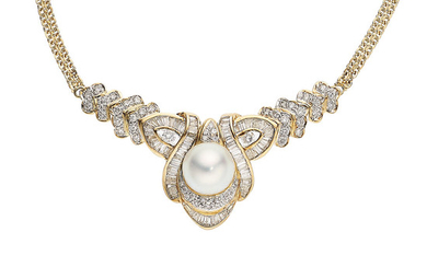 South Sea Cultured Pearl, Diamond, Gold Necklace The necklace...