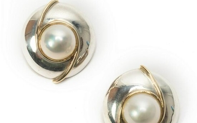 Sterling Silver 14k Gold Mabe Pearl Dome Earrings
