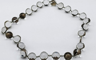 Sterling Silver Antique Pools of Light Crystal Necklace
