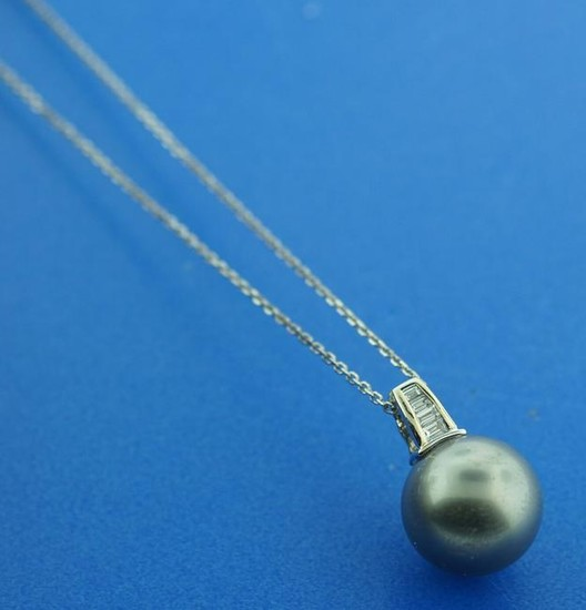 TAHITIAN PEARL 0.30CTS DIAMOND PENDANT CHAIN NECKLACE