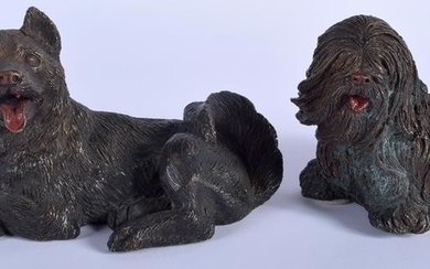 TWO AUSTRIAN COLD PAINTED BRONZE DOGS each modelled