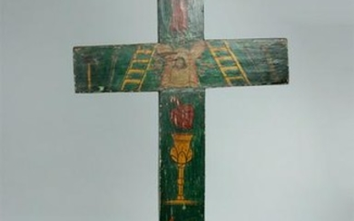 Tall / Impressive 19th C. Mexican Painted Wood Cross