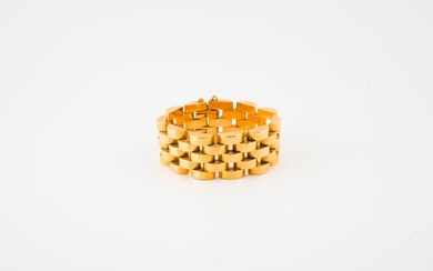 Tank bracelet in yellow gold (750) with five...