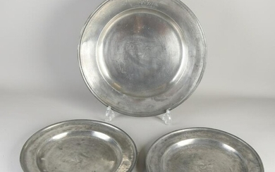 Three large antique pewter plates.&#160 With stamps +