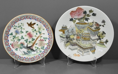 Two 19th century Chinese porcelain dishes (Ø 29...