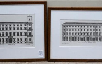 Two Reproduction Architectural Prints, Framed, 18 x 22 inchese