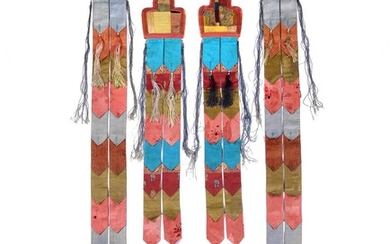 Two pairs of Tibetan silk banners