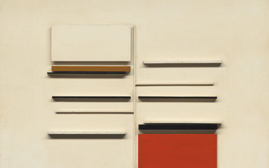 Victor Pasmore, C.H. (1908-1998), Abstract in White, Black, Ochre and Vermillion
