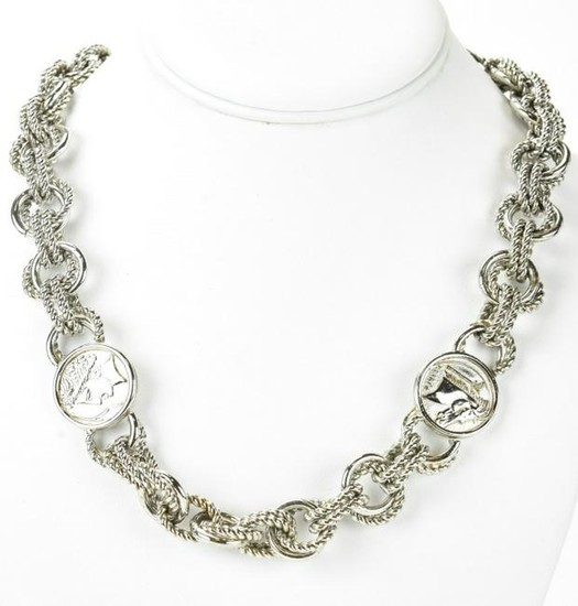 Vintage Silver Tone Faux Greek Coin Necklace