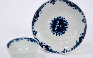 Worcester tea bowl and saucer, painted in blue with a chrysanthemum, circa 1760