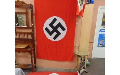 "World War II German Nazi party flag, 78 x 47"", and two other..."