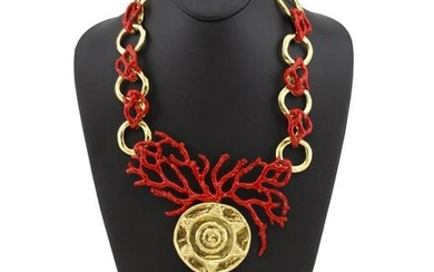 Yves Saint Laurent Red Enamel & Gold Coral Necklace
