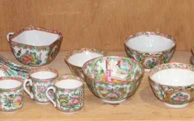 (group ) A group Chinese Canton Famillie-rose dinner set