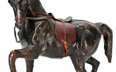 horse, wood, covered with leather , early, very
