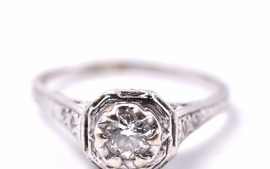 14k White Gold Art Deco Vintage Diamond Engagement Ring
