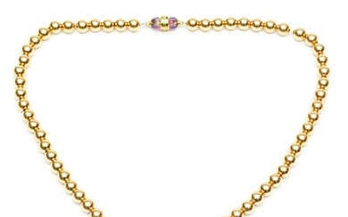 14krt. Golden ball necklace, on anchor necklace (wear...