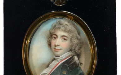 18th Century Continental European School - a miniature bust portrait of a young man