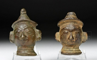 19th C. Odisha, India Bronze Heads (pr)