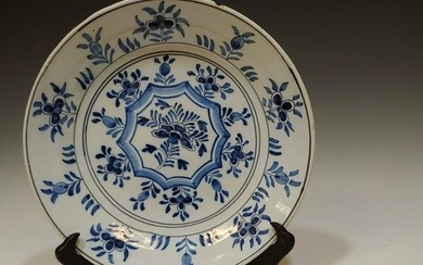 2 Dutch Blue & White Tin-Glaze Plate & Shoe