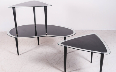 (3) pc Modern Design glass top table set