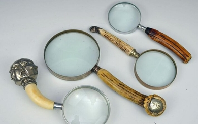 """4 Vintage Magnifying Glasses (Stag Horn, """"Buddha"""")"""