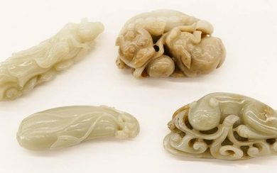 4pc Chinese Jade Pebble Carvings Qilin and Fruit.