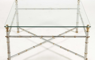 FAUX BAMBOO BRASS IRON COFFEE TABLE JANSEN