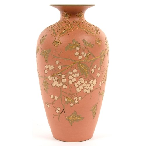 A CALVERT AND LOVATT ART POTTERY VASE, DECORATED IN CORAL AN...