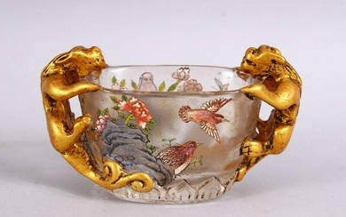 A CHINESE PEKING GLASS TWIN HANDLE LIBATION CUP, with