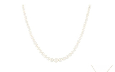 A CULTURED PEARL NECKLACE, to a diamond and ruby 18ct gold c...