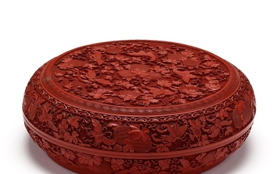 A Chinese Circular Red Cinnabar Lacquer Box with Butterflies