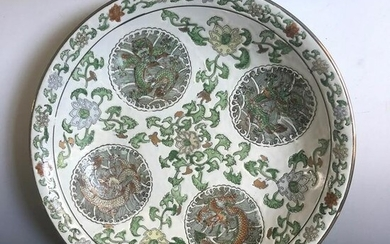 A Chinese Porcelain Plate with Intricate Dragon