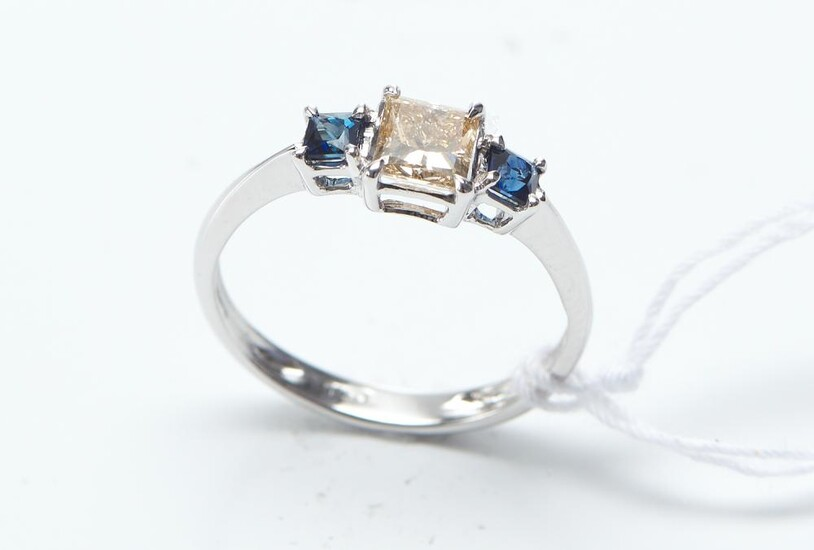 A DIAMOND AND SAPPHIRE DRESS RING IN 18CT WHITE GOLD, CENTRALLY SET WITH A PRINCESS CUT DIAMOND OF 0.30CT, SHOULDERED BY PRINCESS CU...
