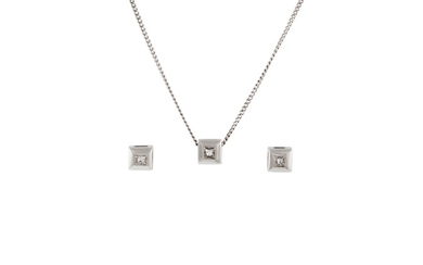 A DIAMOND SET PENDANT AND MATCHING EARRINGS, of approx. 0.30...