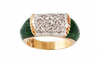 A DIAMOND SET RING, with green enamel decoration, mounted in...
