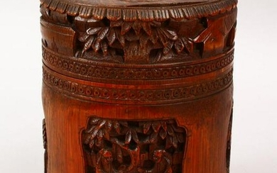 A GOOD 19TH CENTURY CHINESE CARVED BAMBOO BRUSH WASH &