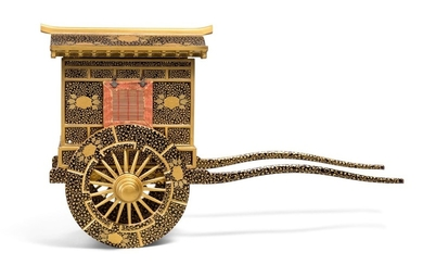 A LACQUER MODEL OF A COURTIER'S CARRIAGE, EDO PERIOD, 19TH CENTURY