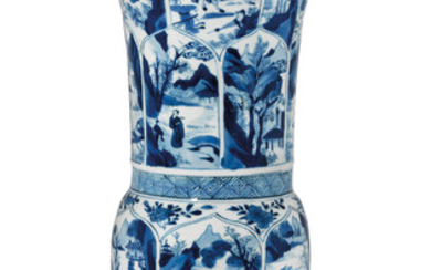 A LARGE BLUE AND WHITE MOULDED BEAKER VASE, GU, KANGXI PERIOD (1662-1722)